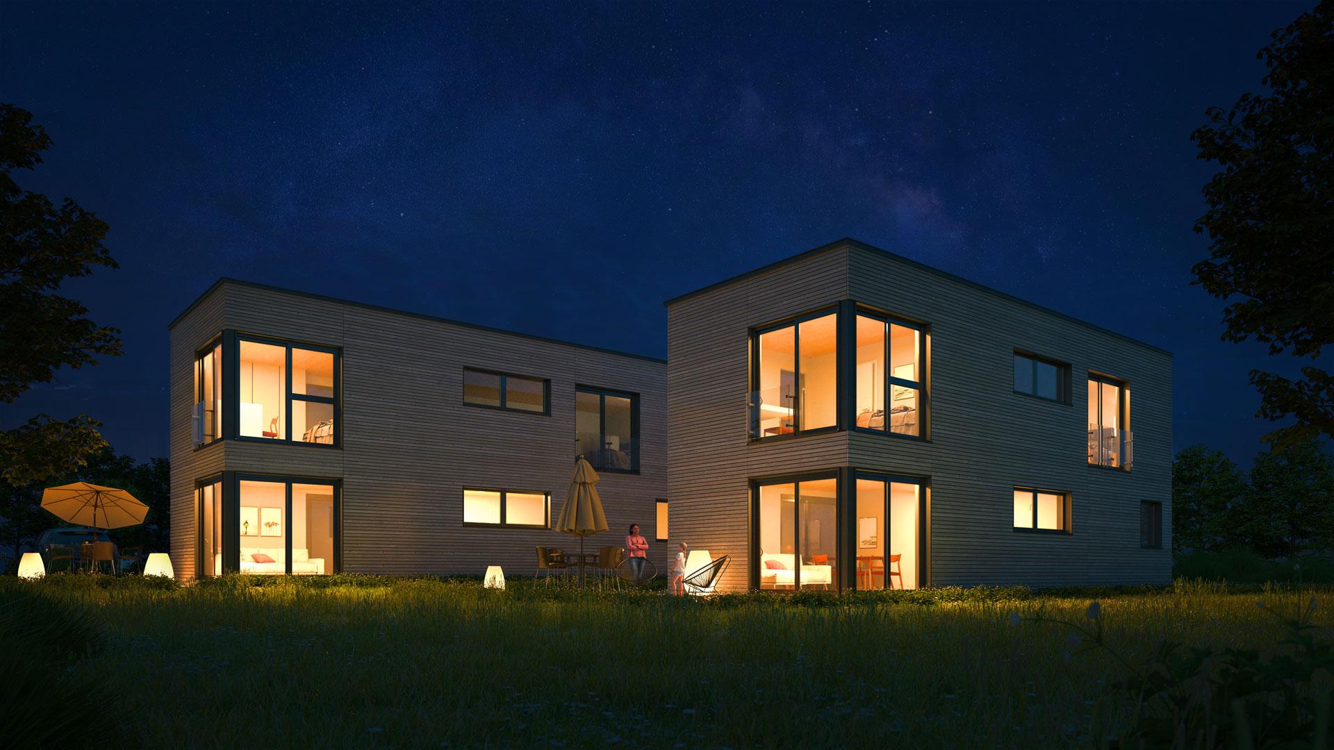 Modernes Holzhaus, gesundes Wohnklima, nachhaltig, energieeffizient